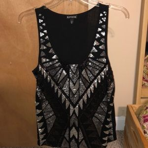 Black and silver dress top